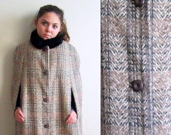 70s Plaid Cape, Faux Fur Collar Cape, Vintage Plaid with Faux Fur Collar, SALE