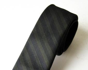 Vintage Skinny Tie Olive Green Navy Blue Striped Cavalier Dacron , SALE