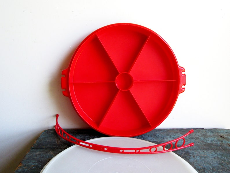 Vintage Red Tupperware Appetizer Veggie Tray With Lid Red Tupperware Pie Sectioned Covered Server Tupperware Party Susan Divided Tray