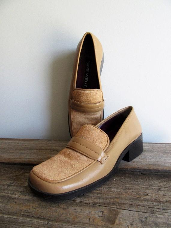 Vintage 90s Chunky Heel Loafers Leather 6 M Nine W