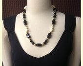 Vintage Black and White Beaded Necklace, Muti Shape Beads, Long Length, Seasonal, Casual, 1970 39 s