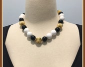 Black and White Beaded Necklace, Shiny Gold Tone Beads, Vintage 1970 39 s 1980 39 s