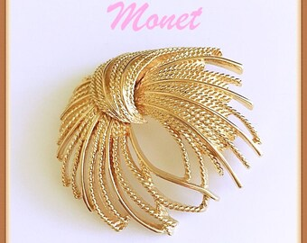 Vintage MONET Large Swirl Brooch Shiny Polished Gold Tone Metal Large Swirl Comma Design Brooch Statement Monet Signed Brooch Pin.