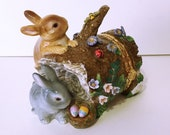 Bunny Rabbit Family Trinket, Hinged, Log, Porcelain, Flowers, Bumble Bee, Lady Bug, CWC, Vintage