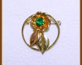 Bal Ron Flower Brooch 12 k GF, Yellow and Rose Gold Color, Small Size, Vintage 1950s 1960s