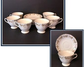 Tea Cups and Saucers, Service for Six, Yellow, Orange, Floral Pattern, Pagoda back stamp, Vintage 1940 39 s 1960 39 s