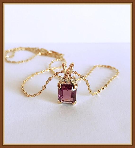 Purple Rhinestone Necklace, Dainty, Rectangle, Gol