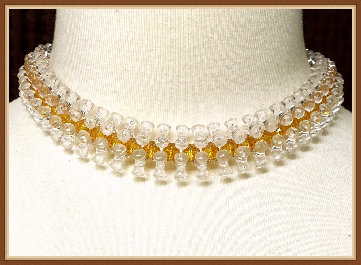 Vintage Clear Beaded Choker Dog Bone Shaped Beads Yellow Etsy