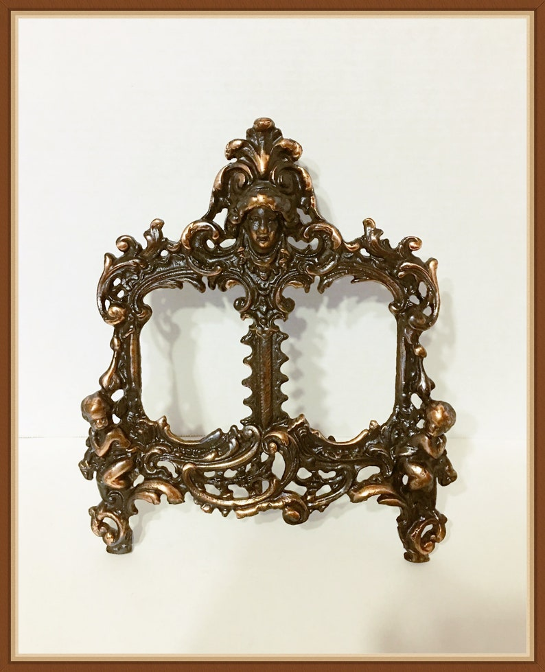 Cast Iron, Antique Victorian Cherub Double Picture Frame Ladies Face 4 lbs. Heavy Feather Headdress