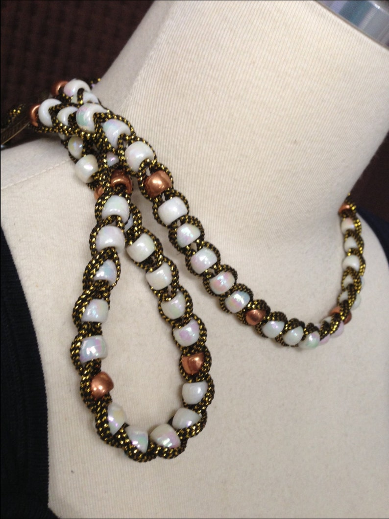Copper beads Vintage Tassel Necklace White iridescent beads Long Length 1970/'s