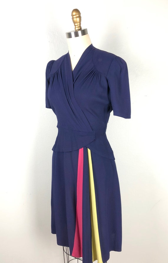 Vintage 1940s Color Block Dress Flirty Swing Dres… - image 3