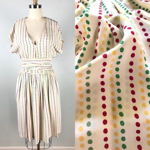 Vintage 1940s Rayon Flirty Polka Dot Swing Dress