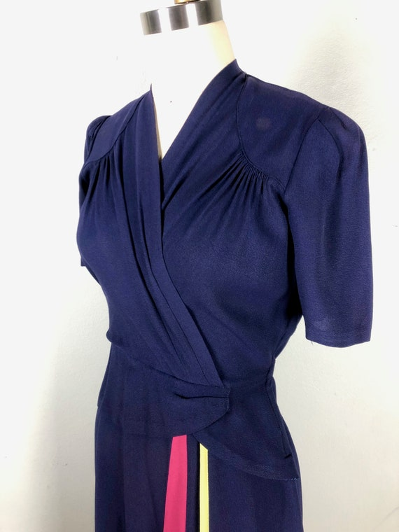 Vintage 1940s Color Block Dress Flirty Swing Dres… - image 7