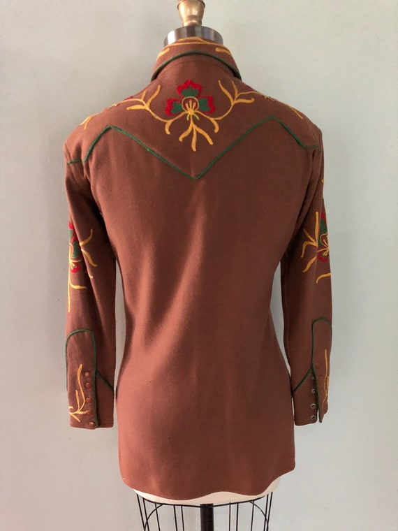 Vintage 1940s Western Embroidered Cowgirl Shirt C… - image 7