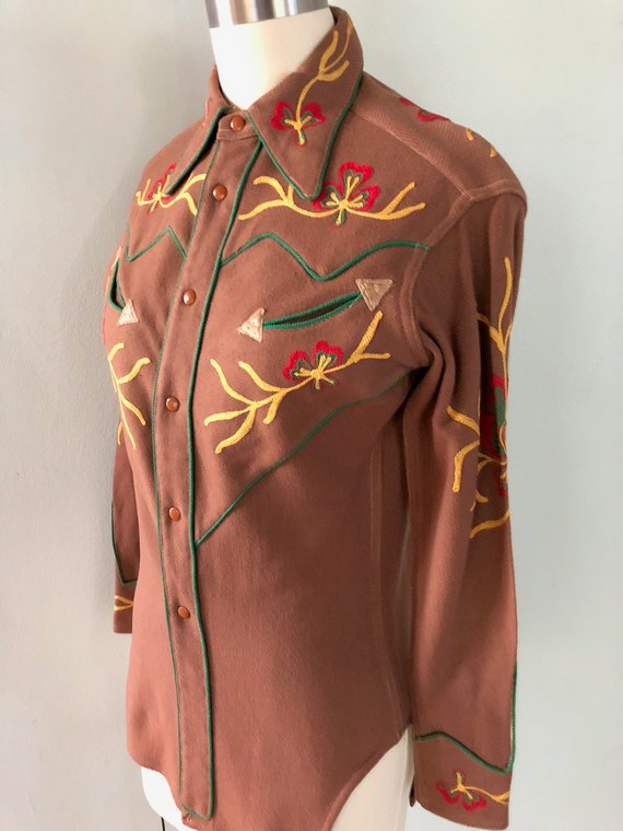 Vintage 1940s Western Embroidered Cowgirl Shirt C… - image 3