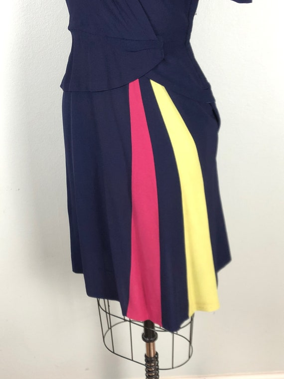 Vintage 1940s Color Block Dress Flirty Swing Dres… - image 4