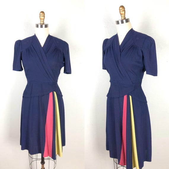 Vintage 1940s Color Block Dress Flirty Swing Dress