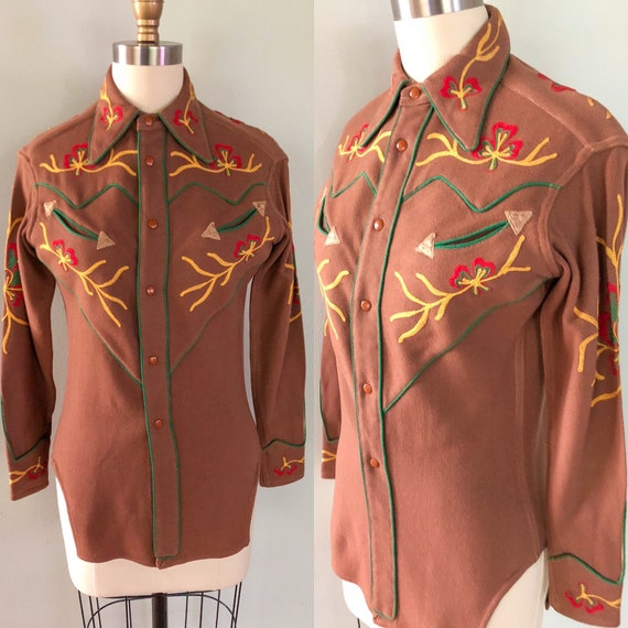 Vintage 1940s Western Embroidered Cowgirl Shirt C… - image 1