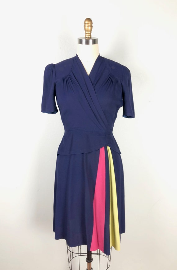 Vintage 1940s Color Block Dress Flirty Swing Dres… - image 2