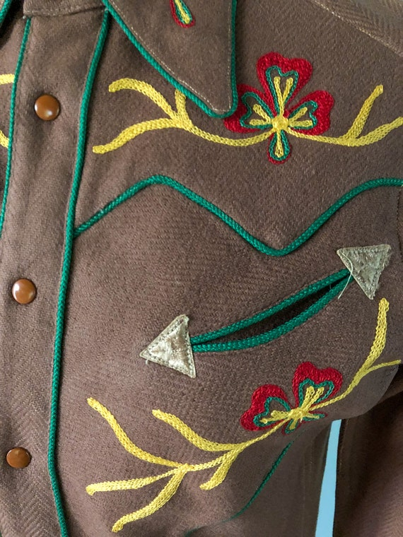 Vintage 1940s Western Embroidered Cowgirl Shirt C… - image 4