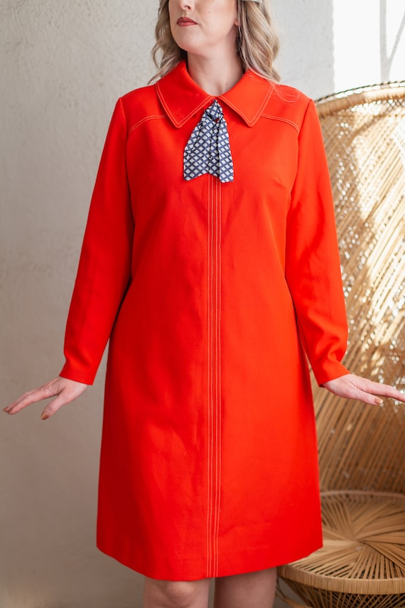 Vintage 1960s Mod Tomato Red Shift Dress with Asco