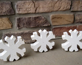 Attrayant Set Of 3 SNOWFLAKE BLOCKS For Winter, Christmas, Shelf, Desk, Office And  Home Decor