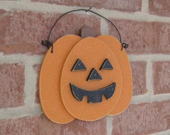 FREE SHIPPING Halloween Jack O Lantern pumpkin decor for Halloween, Fall, Autumn, wall and door hanging