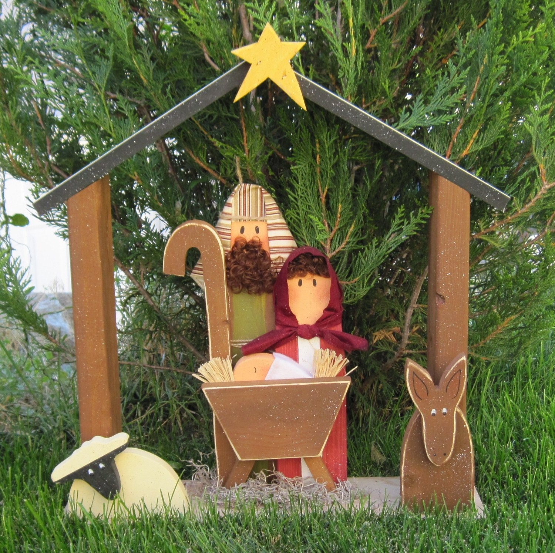 Large Nativity For Christmas Holiday Noel Baby Jesus Etsy