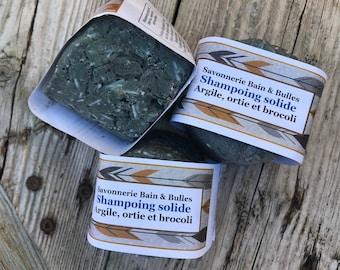 Shampoing solide en barre,  poudre Nila, poudre de brocoli,  charbon activé, ortie, fait main, naturel, shampoo solid bar