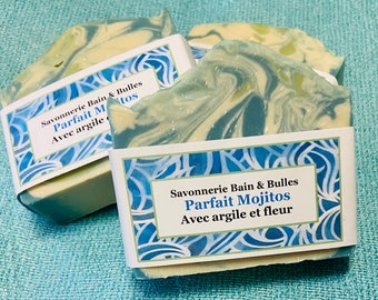 Savon avec argile et soie, Parfait Mojitos, lime et menthe, estival,  handmade soap, silk soap