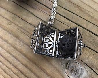 Collier d'aromathérapie, huile essentielle, série  cube, aromatherapy necklace, lava beads