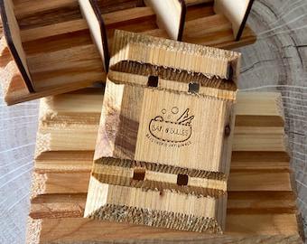 Porte savon fait main, bois de cedre, Unik-Art, soapdish, cedarwood