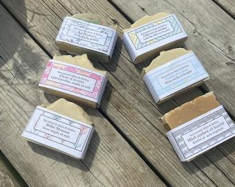 Sextuor de savon sans parfum, nature, peau sensible, peau sèche, ensemble de savon