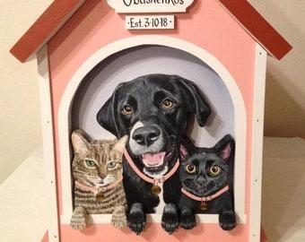 Custom 3 Pet Large Wedding Card Box Dog House