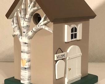 Cottage Birdhouse Personalized with Heart Carved Tree