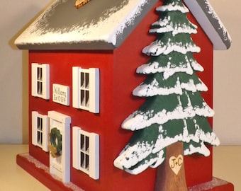 Winter Wedding Card Box Birdhouse with Heart Carved Pine Tree