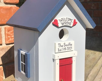 Welcome Wrens Birdhouse with Personalized Sign over the Door.