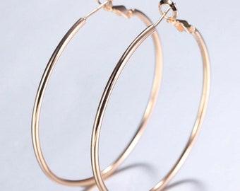 Large Hoop Earrings 585 Rose Gold Plated Pierced Earrings