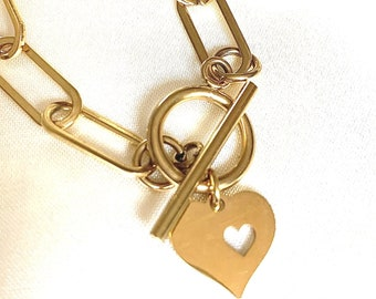 Trendy Paperclip Necklace with Heart Pendant and Toggle Clasp Stainless Steel No Tarnish