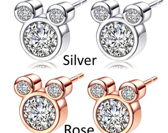 Mickey Mouse Themed Stud Pierced Earrings with Cubic Zirconia in Rose Gold and Silver