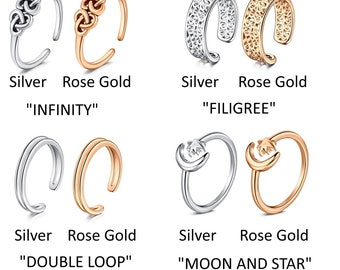 Toe Ring Silver Rose-Gold Adjustable Hypoallergenic No Tarnish