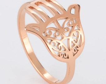Hamesh Fatima Hamsa Hand Ring Rose Gold Stainless Steel