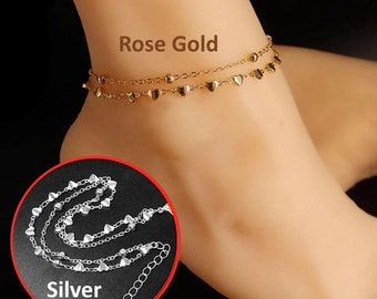 Heart-shaped Ankle Bracelet Chain Silver and Rose Gold Adjustable Size