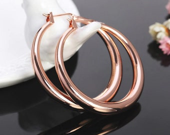 Rose Gold Round Hoop Pierced Earrings 34mm 1.34 inches