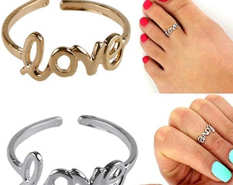 Love Toe Ring Adjustable Stainless Steel Silver Gold