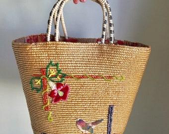 Vintage 60s Woven Handmade Basket Tote Bag