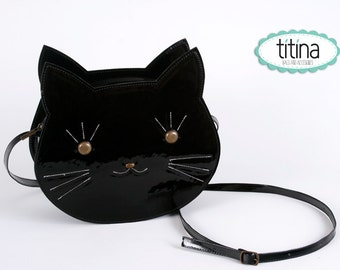 Mr black cat  in patent synthetic leather