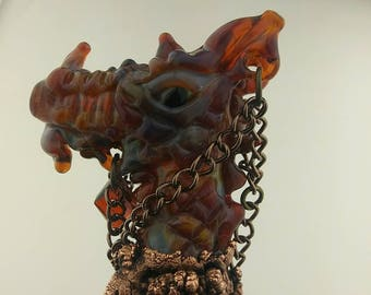 Baguette magique - verre Dragon - verre enivrants Dragon Rouge personnel - soufflé à la main en verre borosilicaté Fantasy Art - Cosplay assistant personnel - baguette magique de sorcières