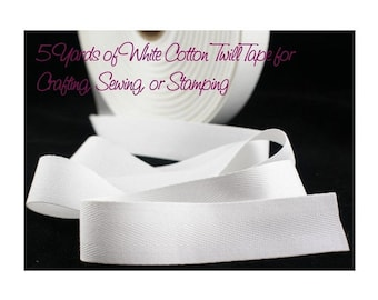 3/4 inch Wide White Cotton Twill Tape, White Cotton Twill Tape, THIN-WEIGHT White Cotton Tape for Crafting, Sewing, Stamping, Waterproof