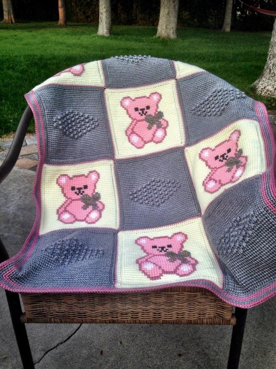 Häkeln Sie Baby Baby Decke Häkeln Teddybär Babydecke Häkeln Etsy
